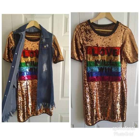 70eab36560f2 Dresses | Love Will Win Pride Goldrainbow Sequin Mini Dress | Poshmark